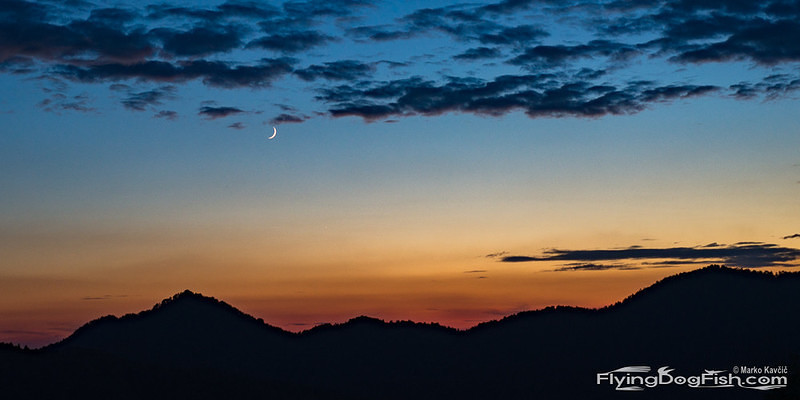 After sunset with young moon